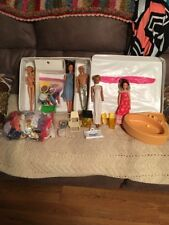 Vintage 1968 Double Doll Case With 60's and 70's Clothes And Accessories 5 Dolls