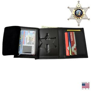 Perfect Fit 6 Point Sheriff Star Badge Wallet B812 S534 Credit Card Hidden Flap
