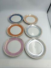 Retro Fairylite Cake Side Plates Multi Coloured Harlequin Lustre Floral Gold 6PC