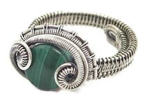 Adjustable Malachite Wire-Wrapped Ring in Sterling Silver