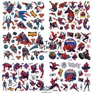 Super-Man,Spider-Man Temporary Tattoo stickers Children Kids Birthday Party Bag