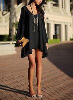 Moxeay Women's V-neck Loose Irregular Hem Summer Chiffon Short Casual Dress US