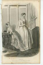 ANTIQUE PURITY VICTORIAN BRIDE WEDDING DRESSES MERMAID FURNITURE ART OLD PRINT