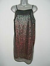 Black Red Graded Sequin Shift Mini Dress Size 12 Strappy Square Neck Party
