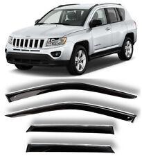 Chrome Trim Window Visors Guard Vent Deflectors For Jeep Compass 2010-2016