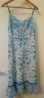 Ann Taylor LOFT Womens A-Line Dress Sz 6 White Blue Paisley Spaghetti Strap Midi