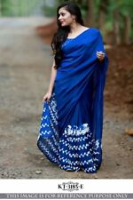 Blue Color Georgette Fabric Party Wear Designer Thread Work saree