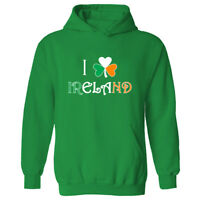 I Love Ireland Unisex Pullover Hoodie Shamrock Heart St Patricks Day