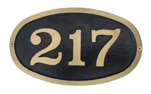 "Address Plaque: Brass Small Oval Bold Font 10 3/4"" x 1/2"" x  6 1/2"""