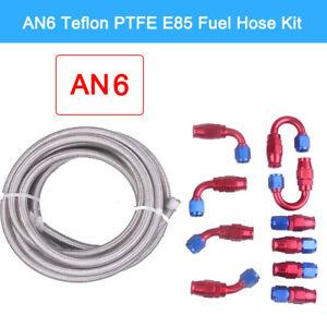 AN6 Braided Teflon PTFE E85 Fuel Hose Line Fitting Adapter Oil Cooler Kit