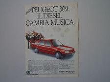 advertising Pubblicità 1986 PEUGEOT 309 DIESEL