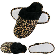 Aerusi Women Winter Warm Leopard Faux Fur Slippers Memory Foam Anti-Slip Shoes