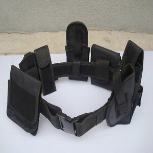 New Security Guard Utility Kit Nylon Duty Belt w/ Pouch Black