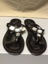 Naughty Monkey Black Rubber Sandals Flip Flops Clear Crystals Bejeweled 10