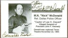 M. Nick McDonald, Captured Lee Harvey Oswald, Signed Card, COA
