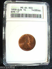 1959-D/D Lincoln Memorial Penny- RPM-17- ANACS MS64 RED