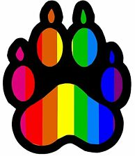 "Gay Pride Rainbow Bear Paw Print Bumper Sticker gay Pride S.A.D. G.L.A.D. 14"""