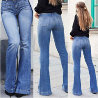 Womens High Waist Denim Bell Bottom Ladies Stretch Jeans Wide Leg Pants Trousers