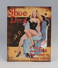 Imagen reclamo Letrero de metal Pin-Up Girl zapato Diva Nostalgia Vintage