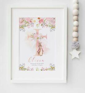 Personalised Christening Peter Rabbit Floral Cross Name Nursery Print UNFRAMED