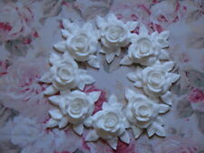 New! Shabby Chic XLG CARVED ROSE & LEAF WREATH Pediment Furniture Applique Onlay