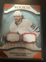 2020-21 TIMOTHY LILJEGREN UPPER DECK ARTIFACTS RC DUAL JERSEY PATCH 12/15
