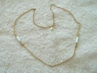 """Avon""  Chain Necklace, Gold Tone Metal, White Lucite Long Beads"