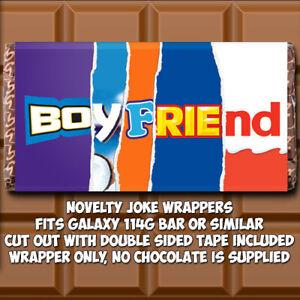 Boyfriend Chocolate Bar Wrapper Novelty Christmas Xmas Birthday Gift Joke Funny