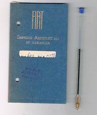 napoli fiat 600 libretto assistenza  e garanzia del 1955
