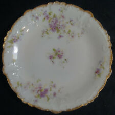 Set of 5 GDA Limoges Purple Floral & Gold Gilt Bread Plates Circa 1900 - 1941