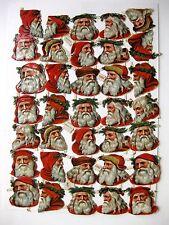 35 Die Cut Vintage Santa Head Scraps Made in Germany #1863