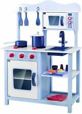 Wooden Kids Kitchen Playset Pretend Cooking Toy Cookware Play Set for Gift Blue