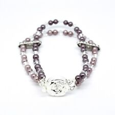 Plum & Lavender Shell Pearl Layer Bracelet with Crystals from Swarovski 7.5""