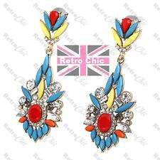 RETRO multi jewelled EARRINGS rhinestone CRYSTAL red blue yellow GOLD FASHION