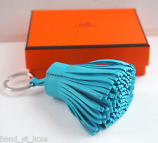 Authentic Hermes NEW Carmen Leather Pom Pom Key Ring Charm Bag Turquoise  Blue d04b07e6b9f