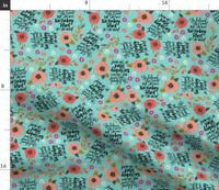 Swear Flowers Turquoise Girly Fabric Printed by Spoonflower BTY