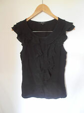 CUE BLOUSE, SIZE 6, BLACK, RUFFLE NECK, CAREER BLOUSE