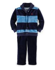 Ralph Lauren Baby Boys' Striped Velour Fleece Set Jacket Pants Sky Blue/Navy 6M