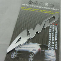 1X Car Metal 4WD Logo 3D Decal Badge Emblem Sticker Auto Number Stickers Silver