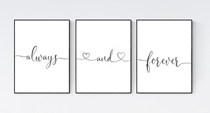 Always and Forever Quote Prints, Set of 3 Bedroom Wall Art Decor, Love Quotes