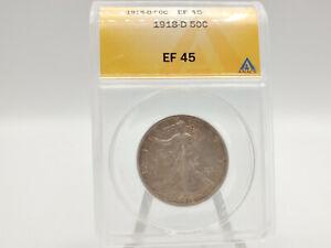 1918-D ANACS EF/XF45 Walking Liberty Half Dollar **NICE EYE APPEAL!**