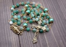 Catholic Rosary Necklace Matte Beads Green Pearl Beads Miraculous Medal & Cross