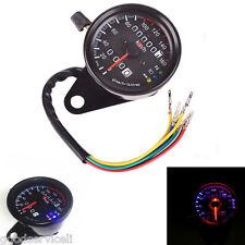 Motorcycle Odometer KMH Speedometer Gauge Cafe Racer Black LED Backlight Signal