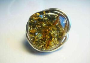 Beautiful Green Baltic AMBER Natural Ring !!!