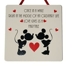 Once In A While..Fairytale Mickey & Minnie Mouse - Handmade wooden Plaque