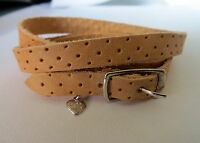 Tan Leather Wrap Around Bracelet with 925 Silver Buckle with Hanging Heart