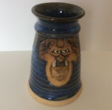 Handcrafted Studio Art Pottery Ugly Face Warthog Mug Tankard Signed Blue 6 3/4""