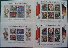 DDR 1953 Marx Block 8+9 A+B gestempelt, mit Wz (ND) (G052)