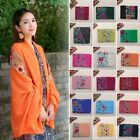 Women Large Embroidered Floral Cotton Linen Scarf Pashmina Shawl Wrap Scarves