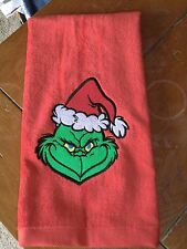 Embroidered Hand Towel - The Mean Grinch - Red Towel